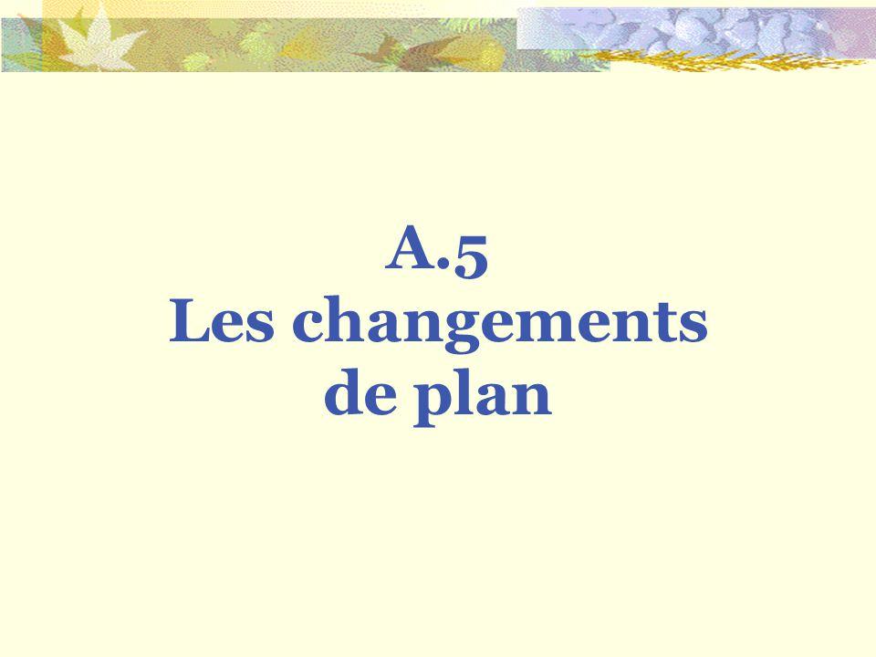 Les changements de plan