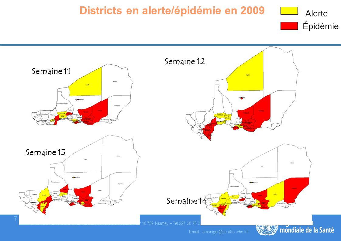 Districts en alerte/épidémie en 2009