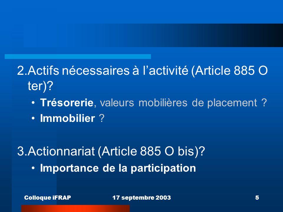 2. Actifs nécessaires à l'activité (Article 885 O ter)