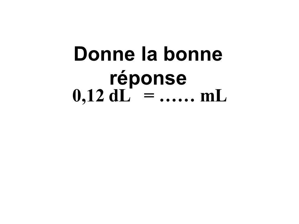 Donne la bonne réponse 0,12 dL = …… mL