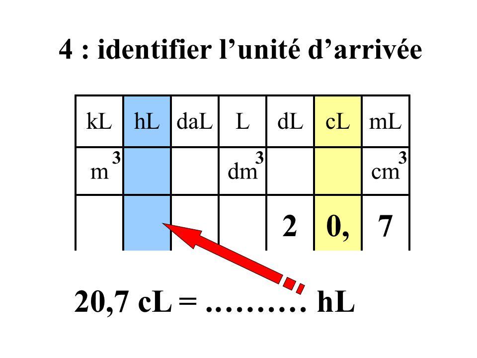 4 : identifier l'unité d'arrivée