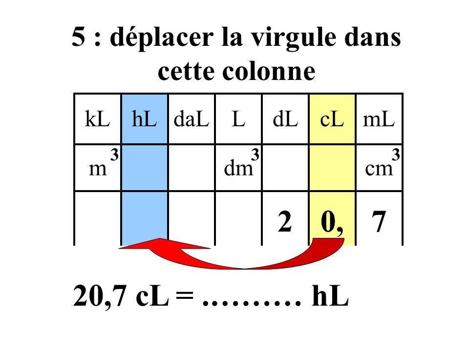 5 : déplacer la virgule dans cette colonne