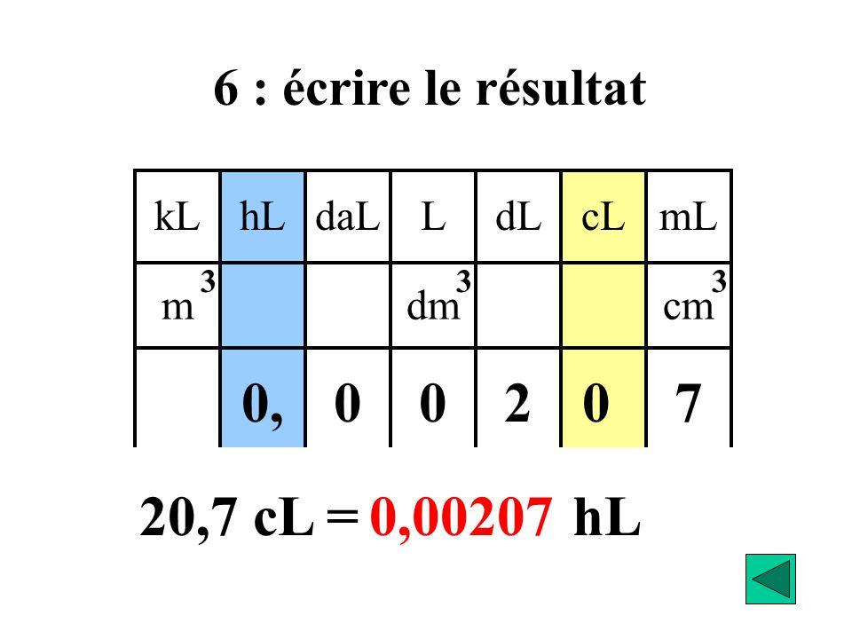 2 7 0, 20,7 cL = hL 0,00207 6 : écrire le résultat kL daL hL L cL dL