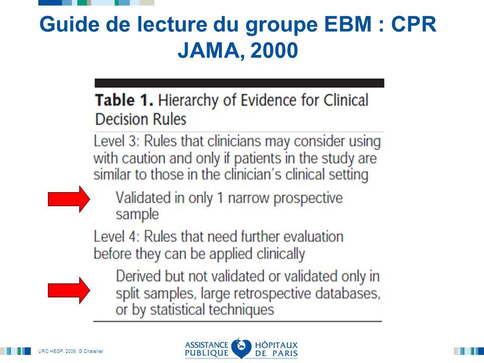 Guide de lecture du groupe EBM : CPR JAMA, 2000
