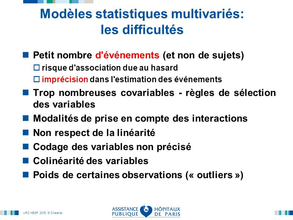 Modèles statistiques multivariés: les difficultés