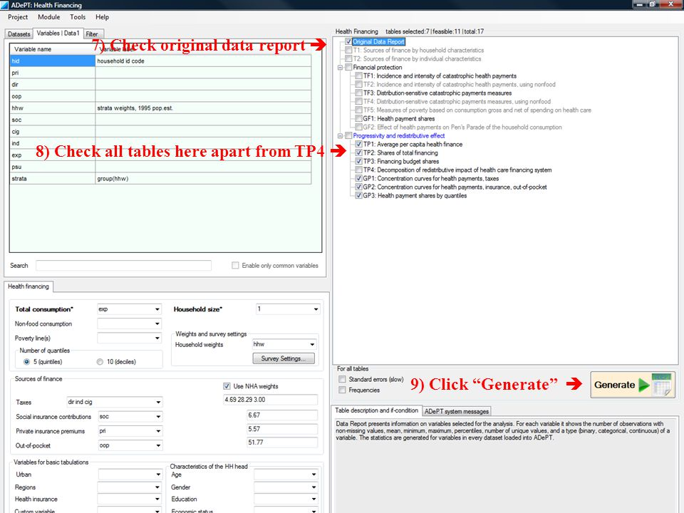 7) Check original data report 