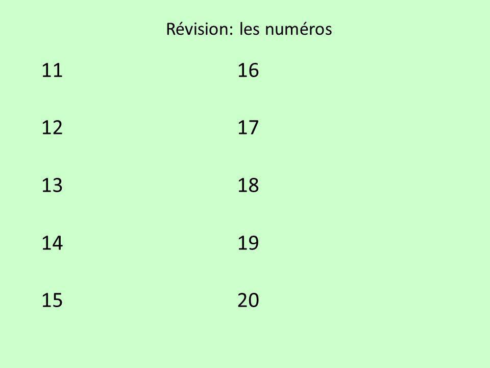Révision: les numéros 11 16 12 17 13 18 14 19 15 20