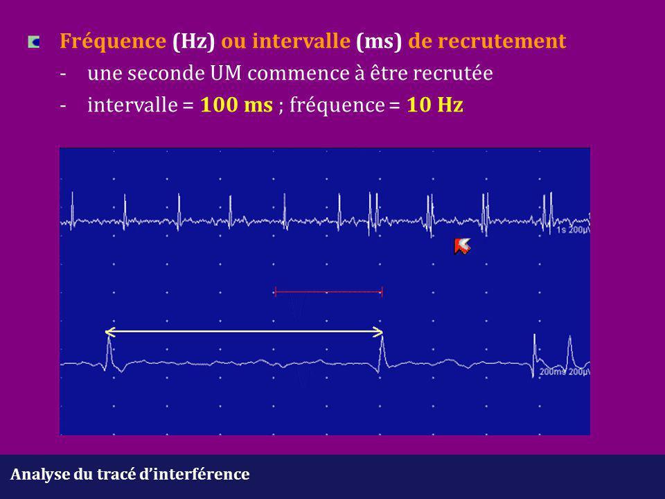 Fréquence (Hz) ou intervalle (ms) de recrutement. -