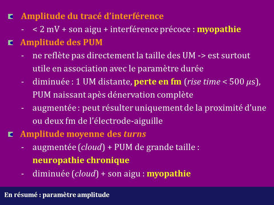 neuropathie chronique - diminuée (cloud) + son aigu : myopathie