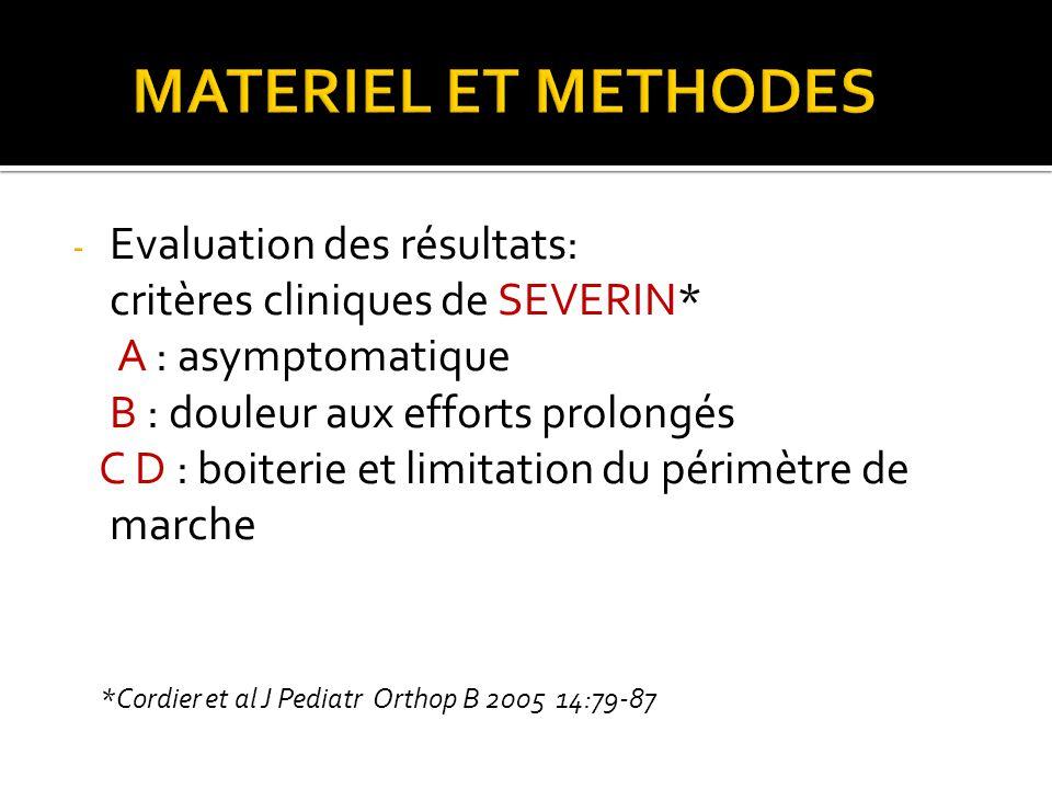 MATERIEL ET METHODES Evaluation des résultats: