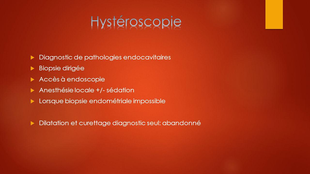 Hystéroscopie Diagnostic de pathologies endocavitaires Biopsie dirigée