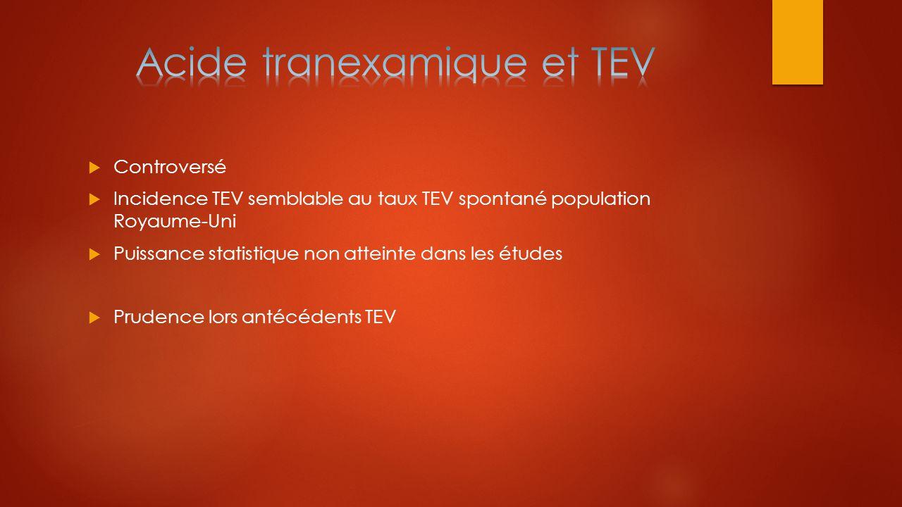 Acide tranexamique et TEV
