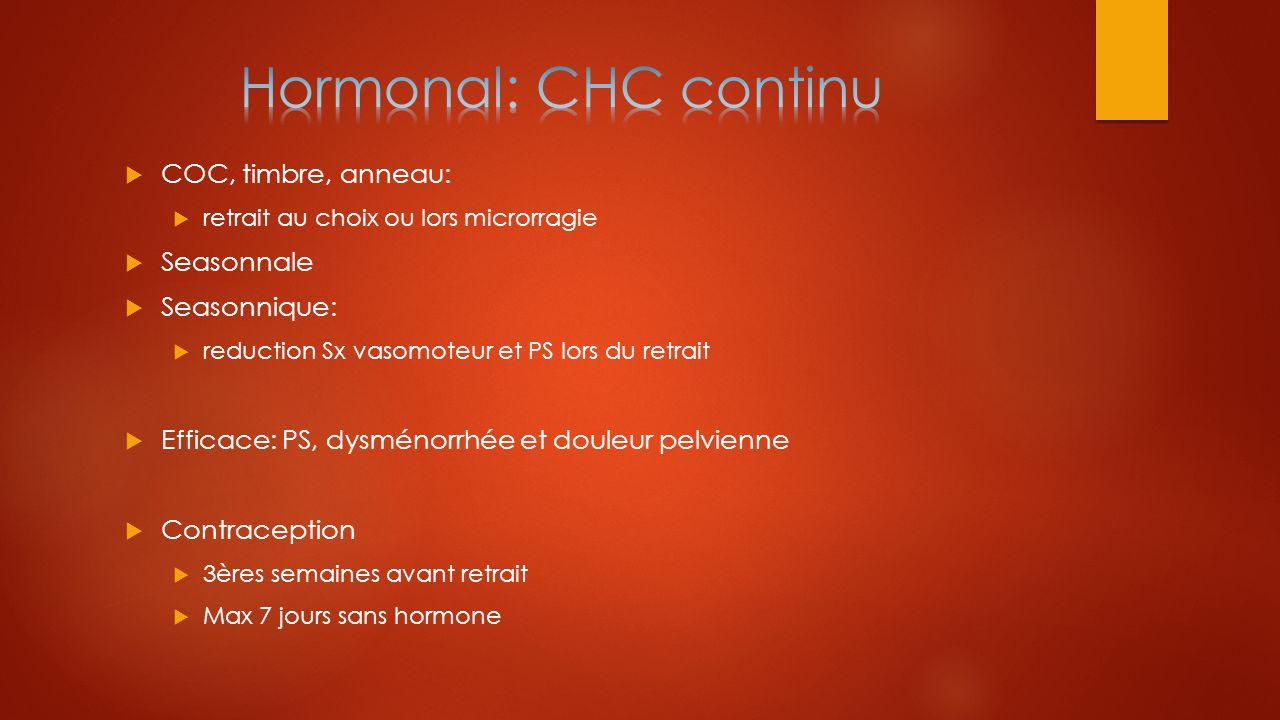 Hormonal: CHC continu COC, timbre, anneau: Seasonnale Seasonnique:
