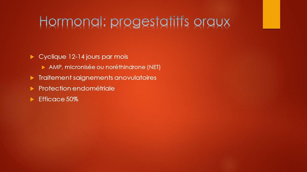 Hormonal: progestatitfs oraux