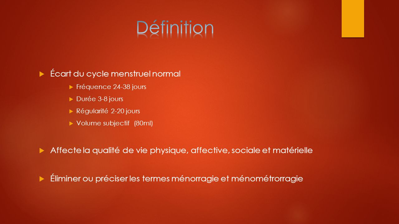 Définition Écart du cycle menstruel normal
