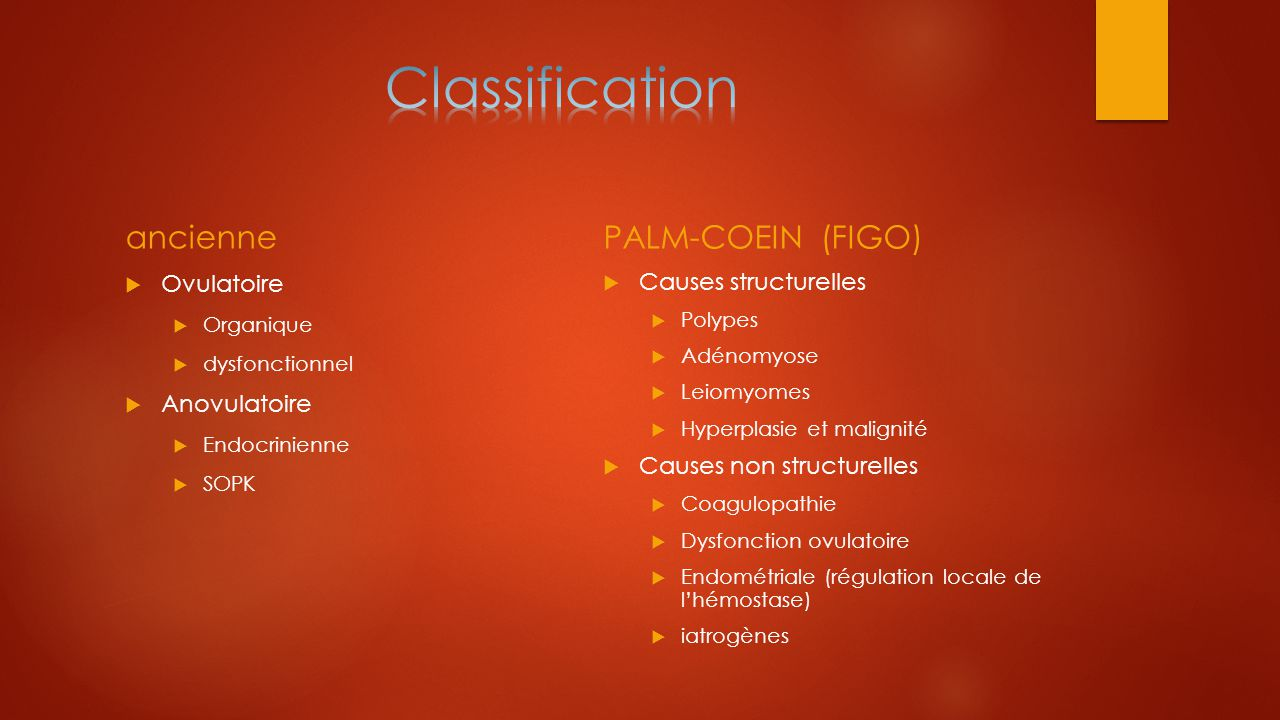 Classification ancienne PALM-COEIN (FIGO) Ovulatoire Anovulatoire