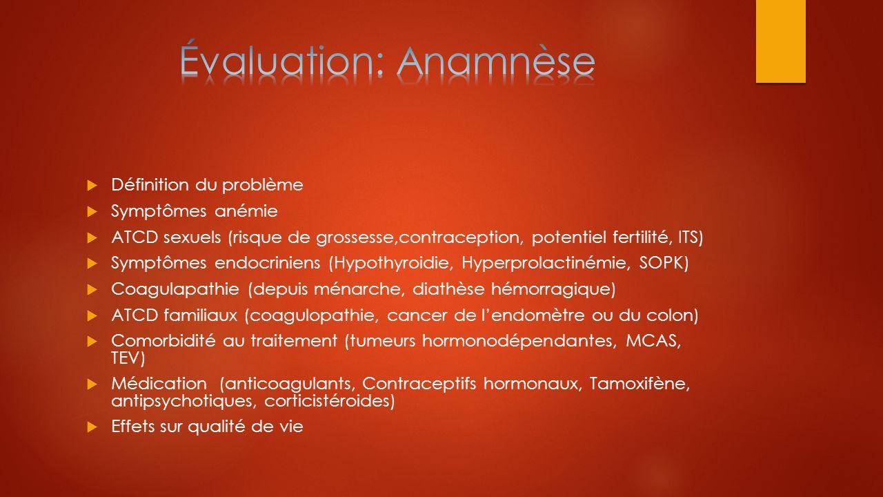 Évaluation: Anamnèse Définition du problème Symptômes anémie