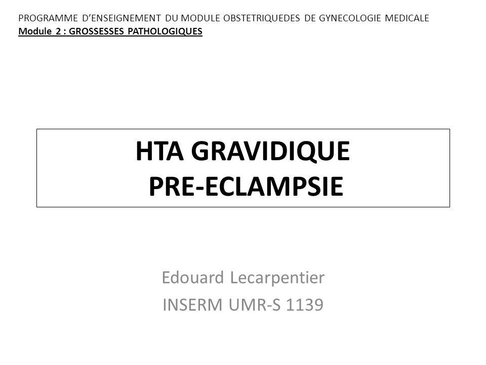 HTA GRAVIDIQUE PRE-ECLAMPSIE