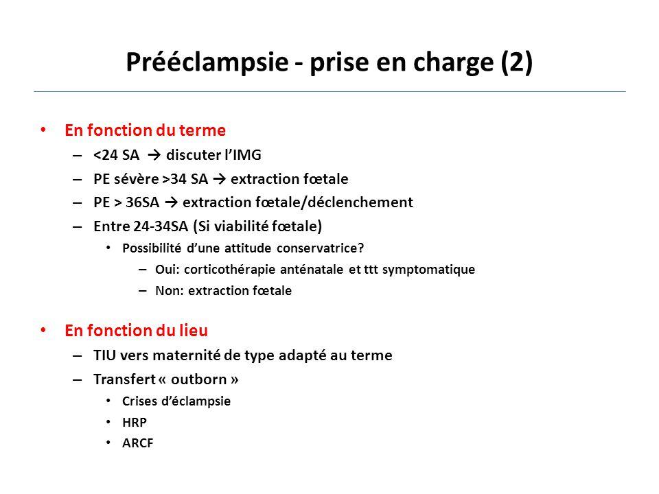 Prééclampsie - prise en charge (2)