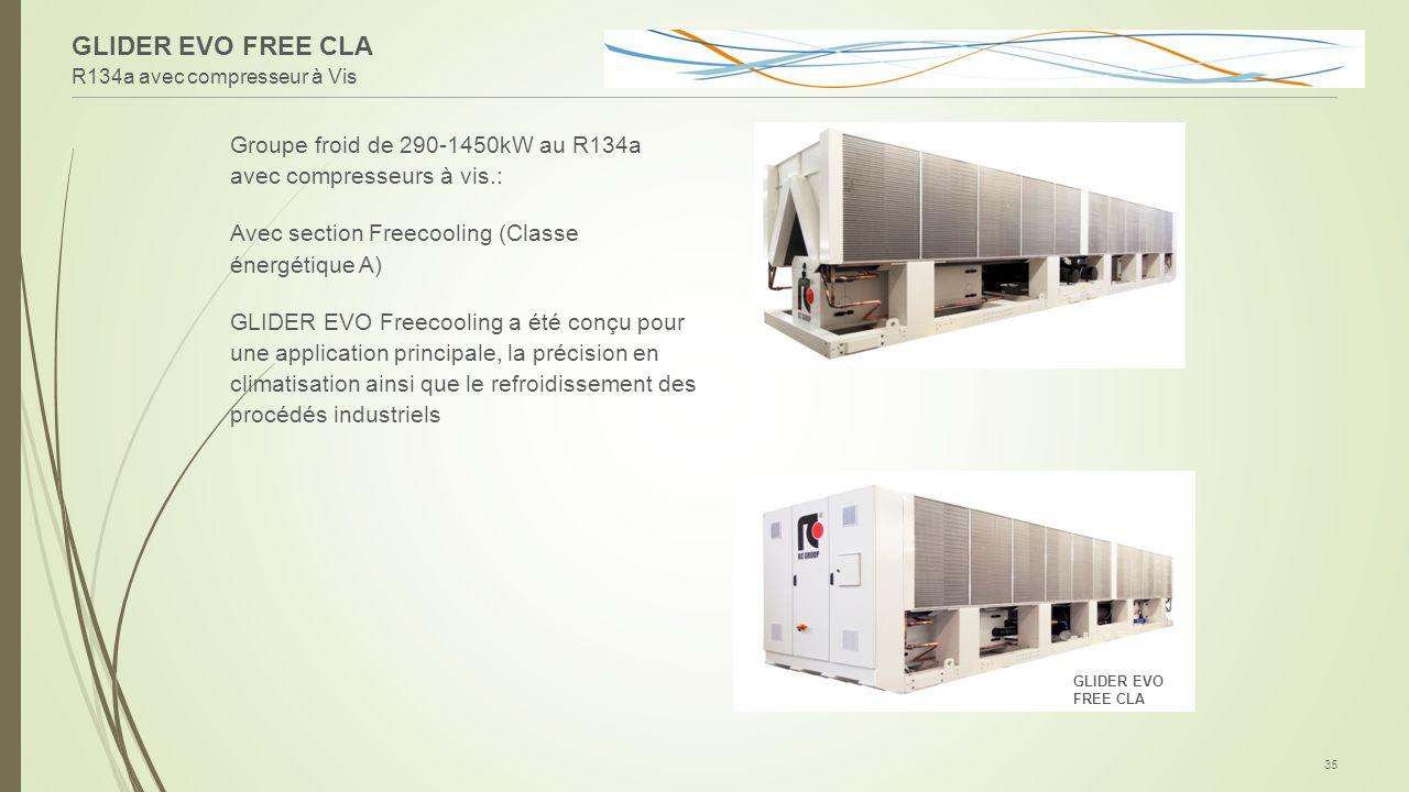 GLIDER EVO FREE CLA R134a avec compresseur à Vis. Groupe froid de 290-1450kW au R134a avec compresseurs à vis.: