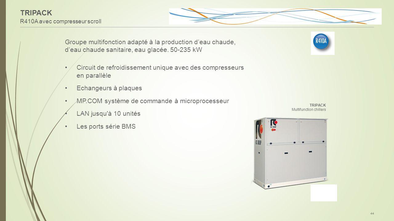 TRIPACK R410A avec compresseur scroll. Groupe multifonction adapté à la production d'eau chaude, d'eau chaude sanitaire, eau glacée. 50-235 kW.