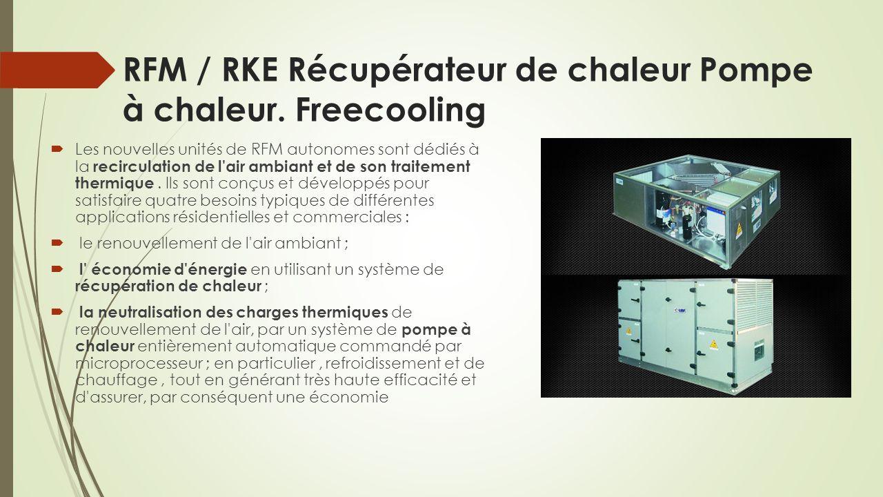RFM / RKE Récupérateur de chaleur Pompe à chaleur. Freecooling
