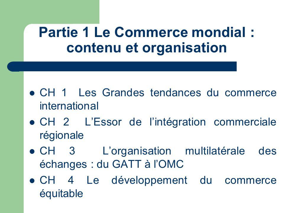 Partie 1 Le Commerce mondial : contenu et organisation