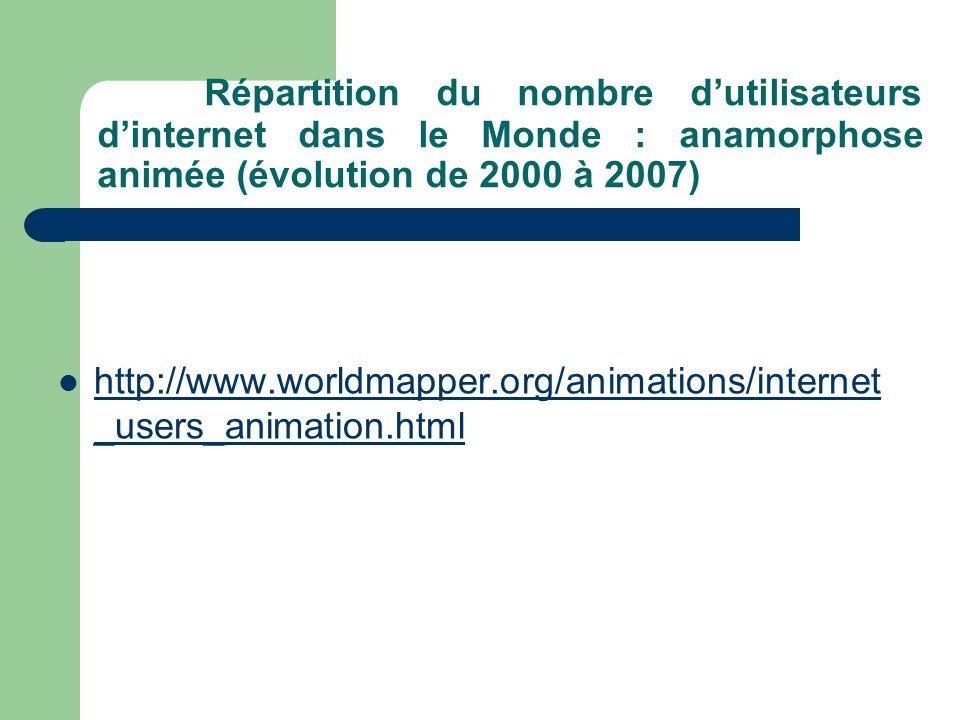 Répartition du nombre d'utilisateurs d'internet dans le Monde : anamorphose animée (évolution de 2000 à 2007)