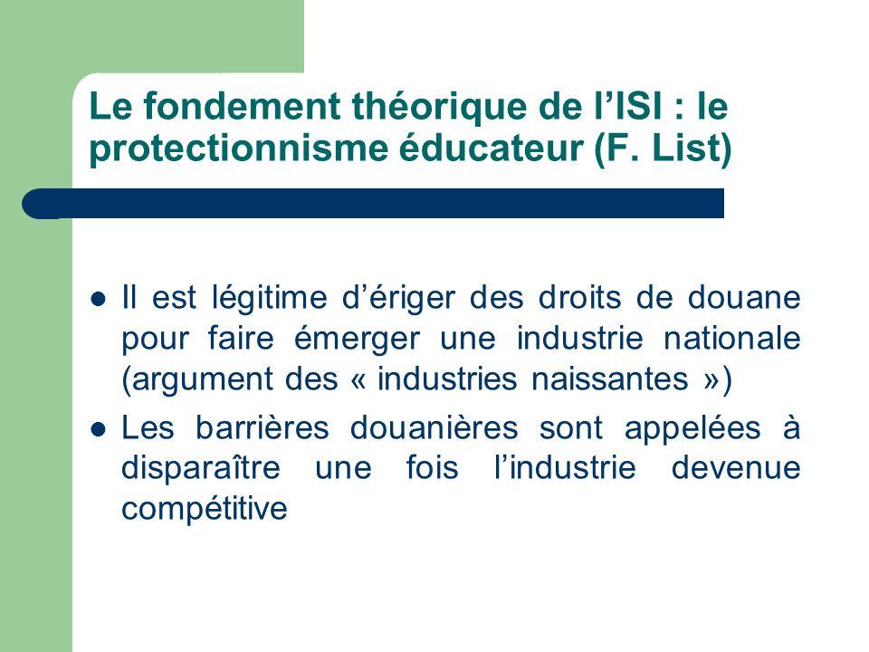 Le fondement théorique de l'ISI : le protectionnisme éducateur (F