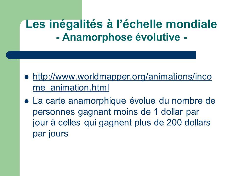Les inégalités à l'échelle mondiale - Anamorphose évolutive -