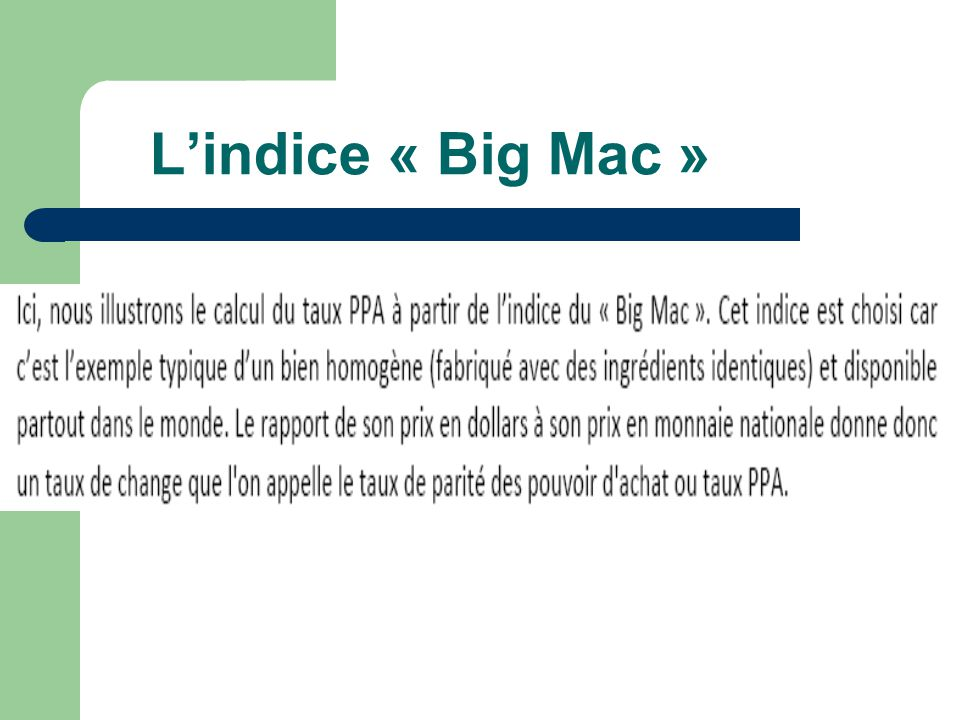 L'indice « Big Mac »