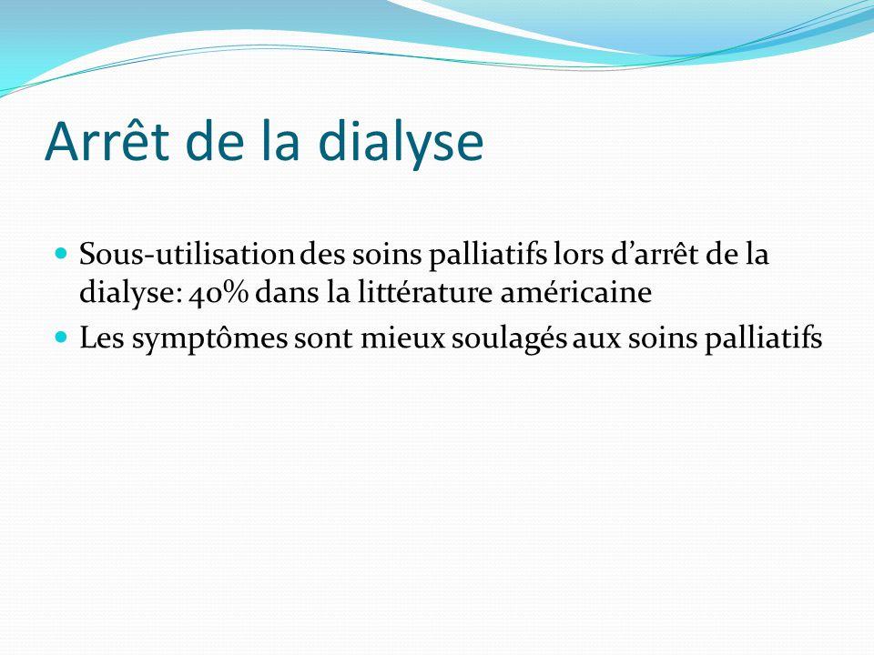 Arrêt de la dialyse Sous-utilisation des soins palliatifs lors d'arrêt de la dialyse: 40% dans la littérature américaine.