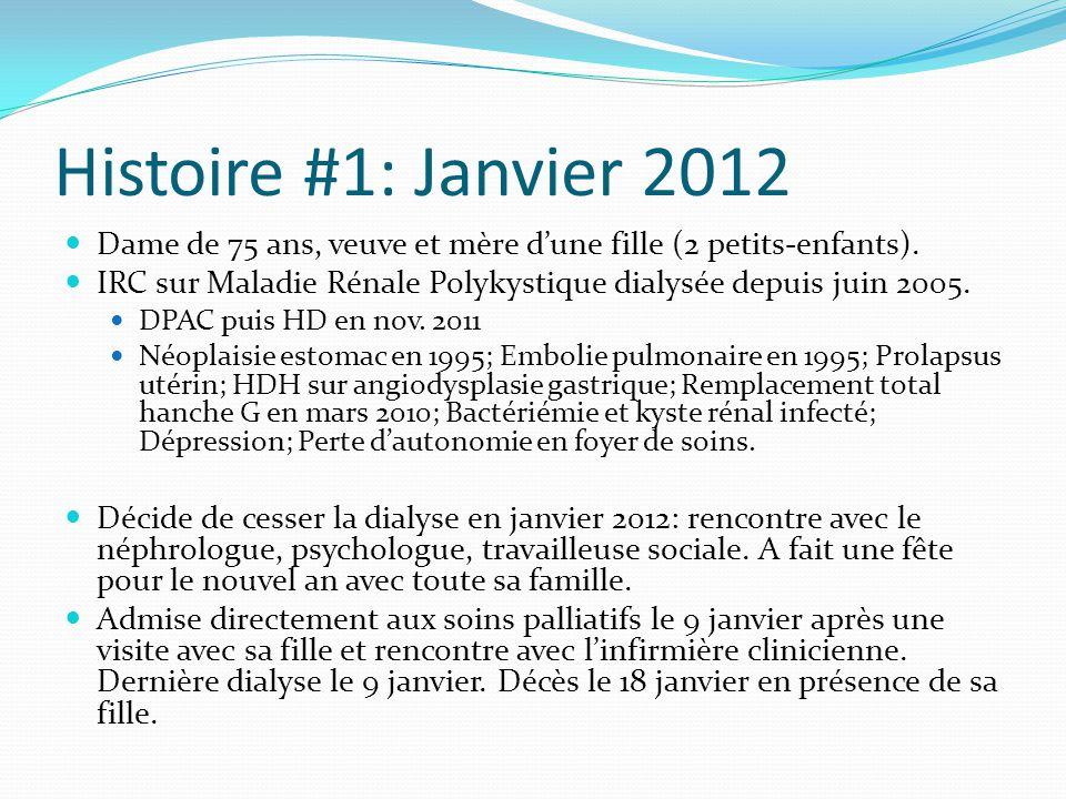 Histoire #1: Janvier 2012 Dame de 75 ans, veuve et mère d'une fille (2 petits-enfants).