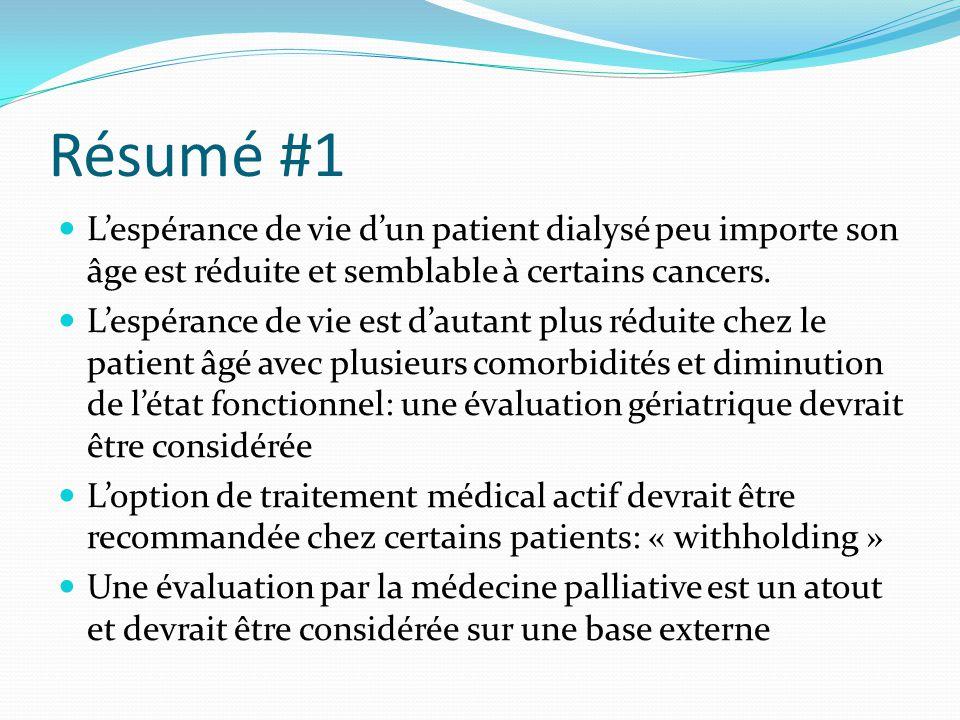 Résumé #1 L'espérance de vie d'un patient dialysé peu importe son âge est réduite et semblable à certains cancers.