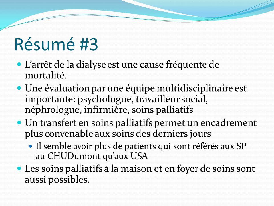 Résumé #3 L'arrêt de la dialyse est une cause fréquente de mortalité.