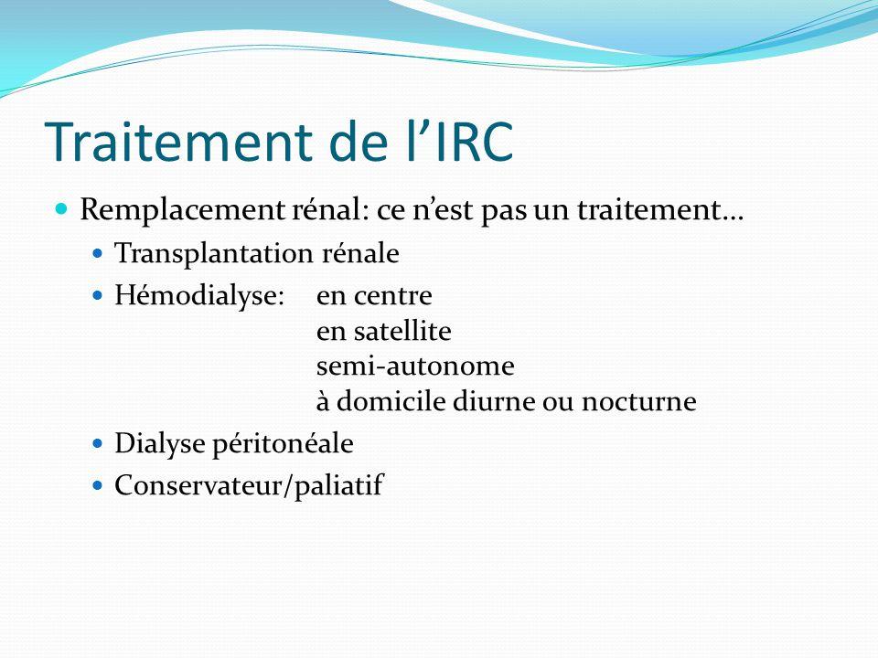 Traitement de l'IRC Remplacement rénal: ce n'est pas un traitement…