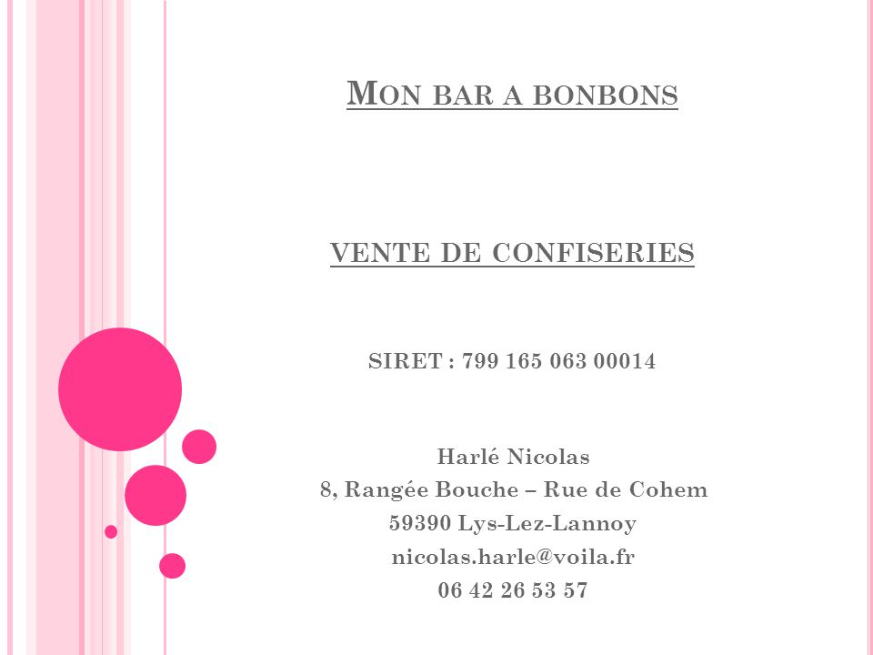 Mon bar a bonbons vente de confiseries SIRET : 799 165 063 00014