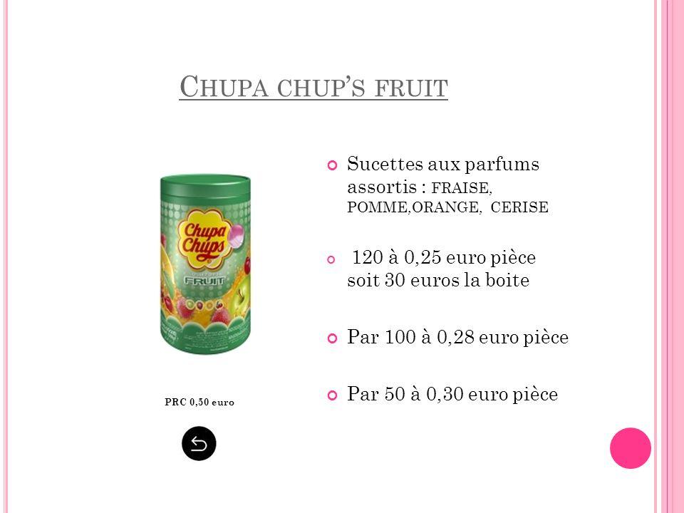 Chupa chup's fruit Sucettes aux parfums assortis : FRAISE, POMME,ORANGE, CERISE. 120 à 0,25 euro pièce soit 30 euros la boite.