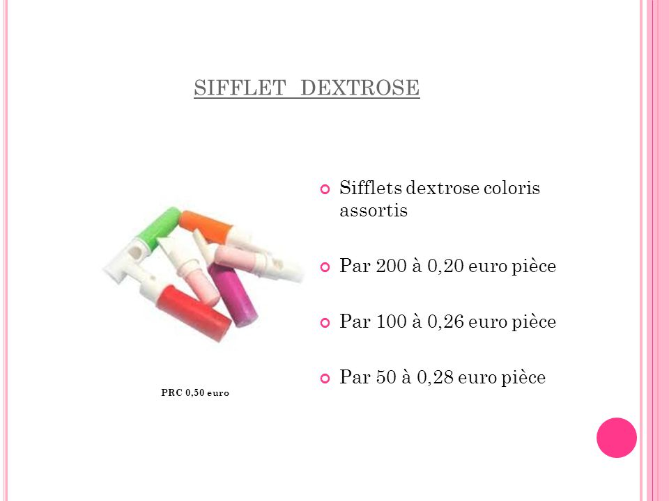 sifflet dextrose Sifflets dextrose coloris assortis