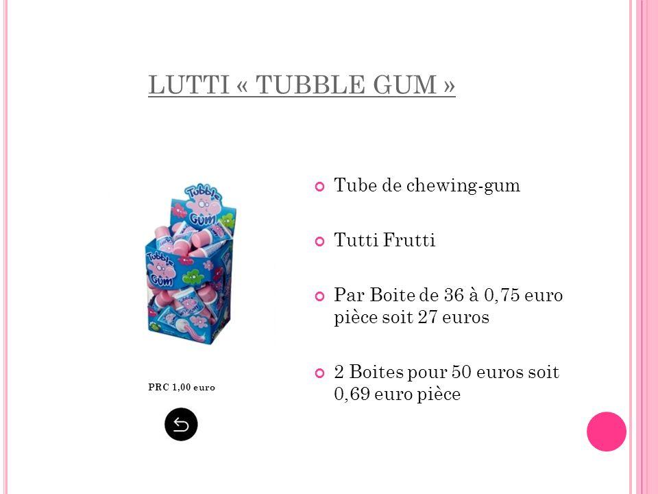 LUTTI « TUBBLE GUM » Tube de chewing-gum Tutti Frutti