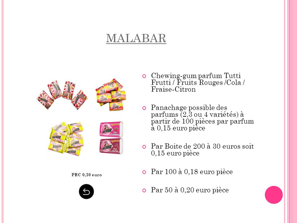 MALABAR Chewing-gum parfum Tutti Frutti / Fruits Rouges /Cola / Fraise-Citron.