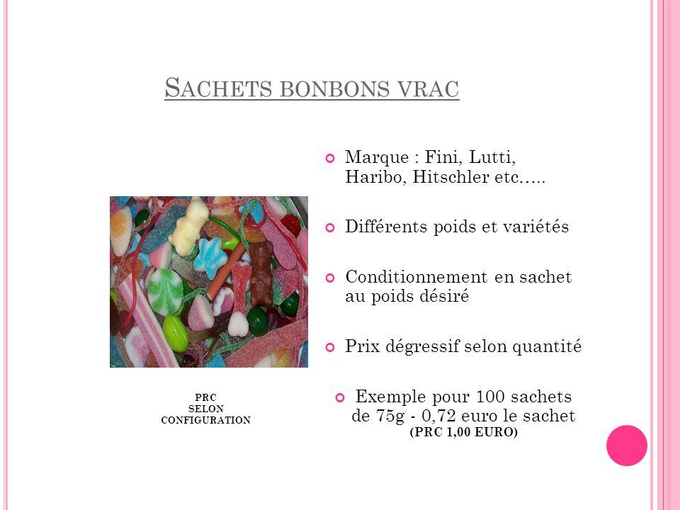 Exemple pour 100 sachets de 75g - 0,72 euro le sachet (PRC 1,00 EURO)