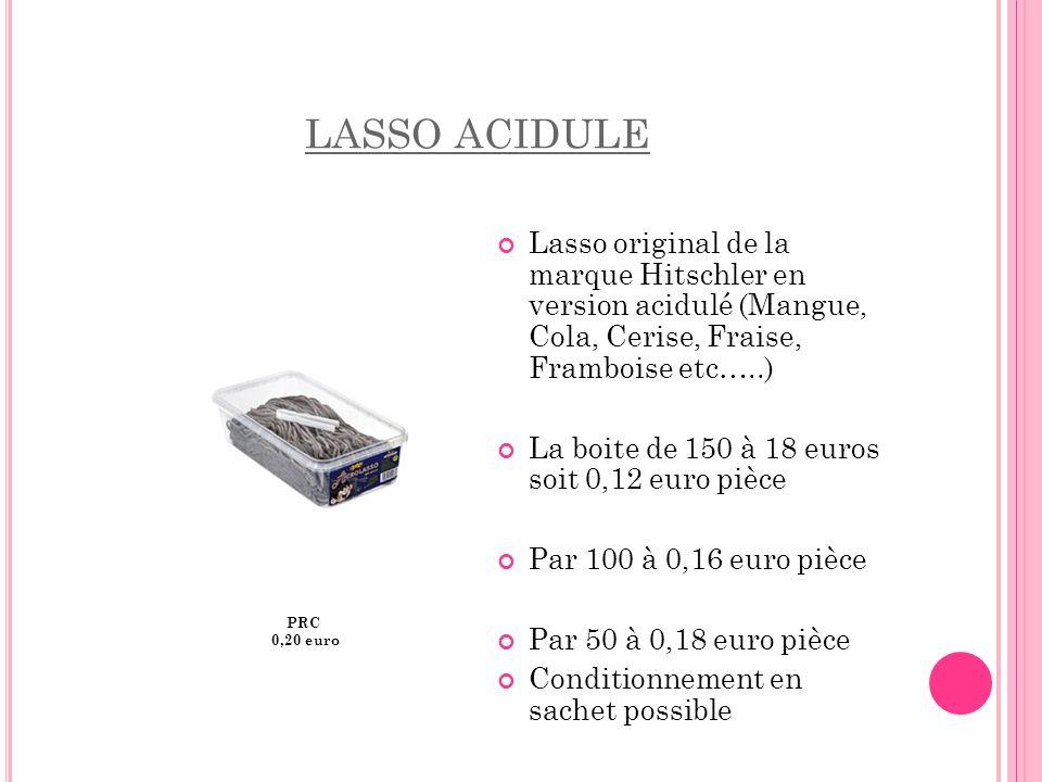 LASSO ACIDULE Lasso original de la marque Hitschler en version acidulé (Mangue, Cola, Cerise, Fraise, Framboise etc…..)