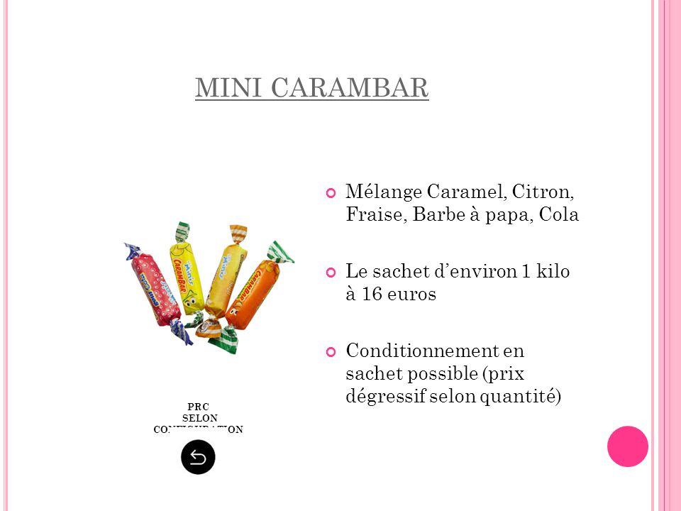 MINI CARAMBAR Mélange Caramel, Citron, Fraise, Barbe à papa, Cola