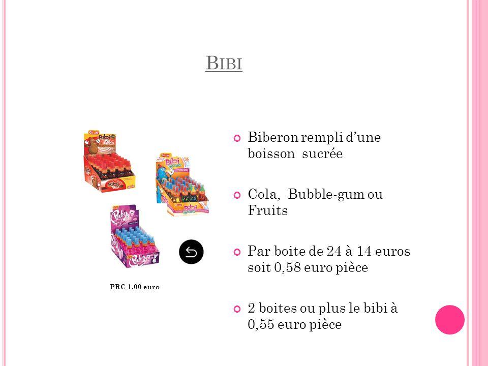 Bibi Biberon rempli d'une boisson sucrée Cola, Bubble-gum ou Fruits