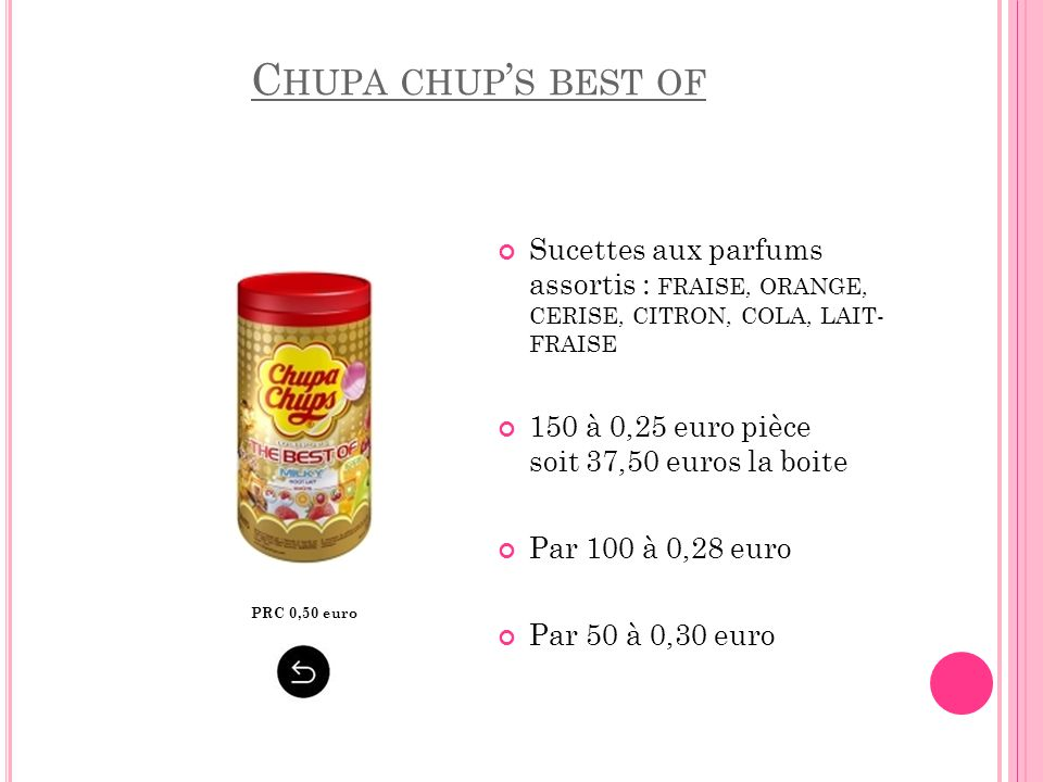 Chupa chup's best of Sucettes aux parfums assortis : FRAISE, ORANGE, CERISE, CITRON, COLA, LAIT- FRAISE.