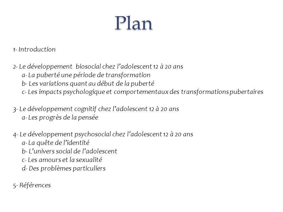 Plan 1- Introduction. 2- Le développement biosocial chez l'adolescent 12 à 20 ans. a- La puberté une période de transformation.
