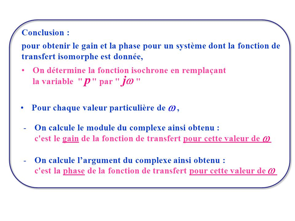 Conclusion : pour obtenir le gain et la phase pour un système dont la fonction de transfert isomorphe est donnée,