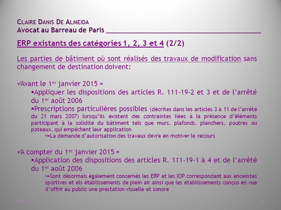 ERP existants des catégories 1, 2, 3 et 4 (2/2)