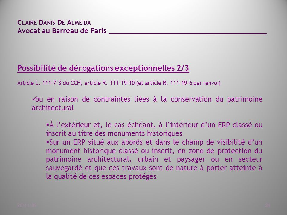 Article L. 111-7-3 du CCH, article R. 111-19-10 (et article R. 111-19 ...